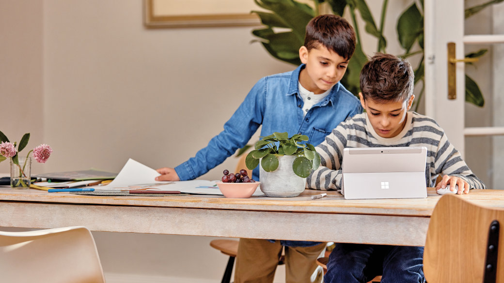 Two students learning remotely.